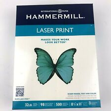 Hammermill Laser Print Paper, Letter, White, 32lb, 98-Bright, 500 sheets