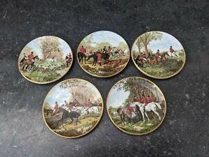 Collection of 5 Rare Coalport Hunting Scenes Miniature Plates
