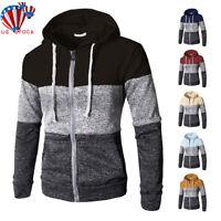 Men Warm Hoodie Hooded Sweatshirt Zip Coat Jacket Outwear Jumper Winter Sweater