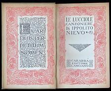 LE LUCCIOLE CANZONIERE DI IPPOLITO NIEVO CARABBA EDITORE LANCIANO 1916