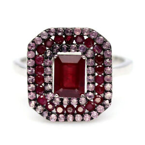 NATURAL 5 X 7 mm. RED RUBY & PINK SAPPHIRE 925 STERLING SILVER RING SZ 8