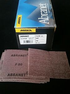 MIRKA ABRANET SANDING STRIPS 75 x 100mm  ABRASIVE PAPERS HOOK LOOP GRIP P80