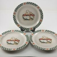 "3 Welcome Home Dinner Plates 10¼"" Gibson Stoneware White Green Border & Basket"