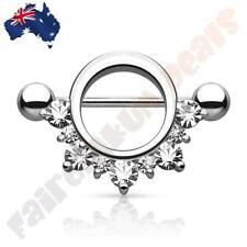 316 Surgical Steel Silver Ion Plated Nipple Shield with Clear Gems