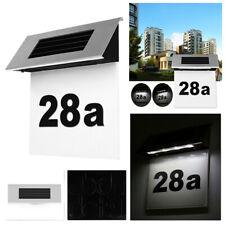 Solar Edelstahl Haus Nummer mit LED Beleuchtung Hausnummernleuchte beleuchtet