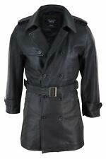 Mens Black 3/4 Trench Coat Real Leather Belted Jacket Classic Soft Napa Classic