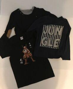 Lot of 3 Size 9 Boys T Shirts 2 Zara Kids Long Sleeve, 1 Samurai Graphic