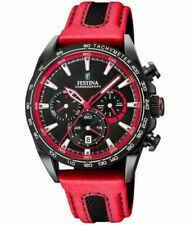 New Festina Mens Black PVD Plated Chrono Leather Strap F20351/6 Watch