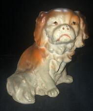 Vtg Carnival Chalk Ware Pekingese Japanese Chin Dog Shabby Chic Statue 6.5 High