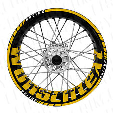 Supermoto Wunschtext - gelb Felgenaufkleber Motorrad (KTM,Husaberg,TM,Suzuki)