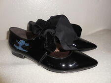 NEW $350 Sz.6B AGL Patent Leather Ballet Oxfod Black Shoes (ITALY)