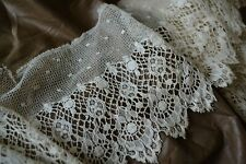 New listing Loveliest Antique French Cotton Wide Lace Off White Petticoat Trim Doll Clothes