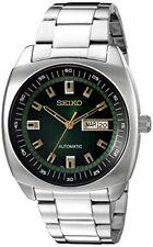 Snkm97 Analogico Verde Seiko Hombres Del Reloj De Plata Automatico De Reloj D...