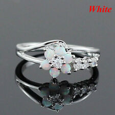 Exquisite Round Cut White Fire Opal Stone 9-2-5 Silver Flower Opal Rings 2018