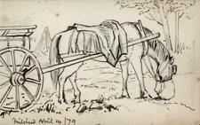 EMILY GEORGIANA HOWARD Small Pen & Ink Drawing HORSE & CART MILSTEAD KENT 1879