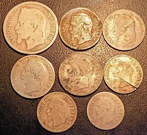 Napoléon III - lot de x8 monnaies argent de 1856 à 1867 !