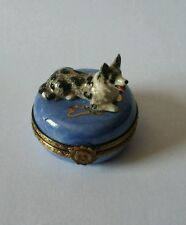 Limoges Hand Painted Porcelain Welsh Cardigan Corgi on Blue Trinket Box