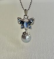 Blue sparking crystal butterfly with dangle pearl pendant silver tone necklace