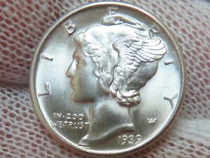 1939 D Silver Mercury Dime GEM BU Uncirculated and free shipping