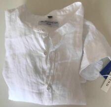 Via Leopardi 10 Italy Leinen Hemd Stehkragen Gr. L Weiß sehr edel