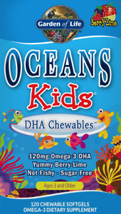 GARDEN OF LIFE Oceans Kids DHA Chewables Omega3 Berry Lime 120Gels FREE SHIPPING