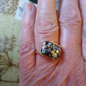 Boho faux black  glitter  agate resin  gold Tone Ring, Size O New with tags