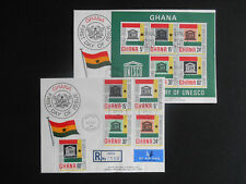 Ghana 1966 FDC x 2: UNESCO full stamp set & MS SG 435-9 & MS440 (see photos)