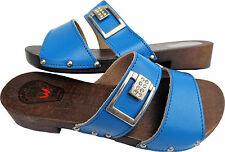 HOLZ (e) CLOGS - Holz Pantolette Gr.37 Blau Echt LEDER (Made in Poland 26.04)