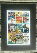 Matted photo of vintage classic baseball movie posters