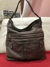 MARC JACOBS Totally Turnlock Brown PEBBLED Leather HOBO Bucket Shoulder Bag L
