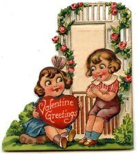 VALENTINE'S DAY CARD Vintage Die Cut 1929 BIG EYES Campbell's Soup Kids? Used