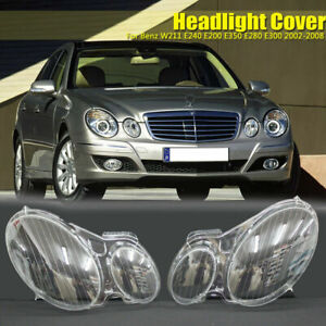 Headlight Lens Cover Left+Right For Benz W211 E350 300 200 02-08 Replacement