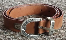 Genuine Italian Tan Leather Belt with Western Concho 36 / 90