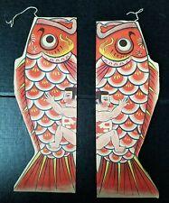 2 Orange Vintage Koinobori Japanese PAPER carp kites