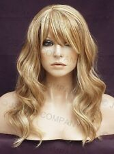 HUMAN HAIR Blend Wig Wavy Strawberry Blonde Mix Heat Safe Bangs WBWV 27-613