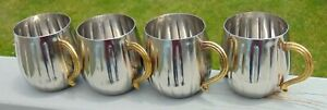 Set Of 4 Stainless Steel 16 Oz Mugs With Brass Handles