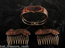 Vintage Hair Comb and Bracelet Set Red Cloisonne Butterfly Motif Gold Tone Jewel