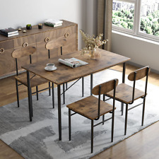 5 Piece Dining Table Set Wooden Modern Dining Set w/4 Chairs Kitchen Dining Room