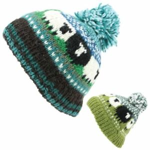 Sheep Hat Black Beanie Bobble Pom Warm Winter Green Wool Knitted Chunky Linned