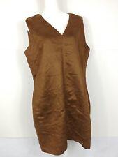 Mossimo Mini Velvet Dress XXl 2XL Brown Front Pocket Shift Disco Retro NWT $79