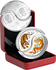 2018 Yin Yang Tiger Dragon $20 (2x$10 Coins) 1OZ Silver Proof Split Coin Canada