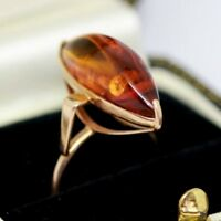 Huge vintage 14 ct Russian rose gold Baltic amber statement ring size O 1/2