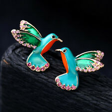 Alloy Gifts Stud Earring Bird Shape Earrings Enamel Glaze Crystal Drill