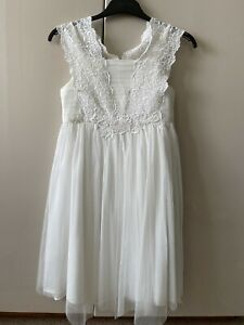 Girls White Flower Girl Bridesmaid Party Communion Occasion Dress Age 10 MONSOON