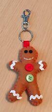 Gingerbread Man Keyring Christmas Bag Charm Red Button Lobster Key Ring Handmade