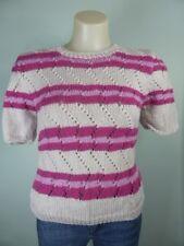 VINTAGE pink purple beige short sleeve knit Jumper 6 8