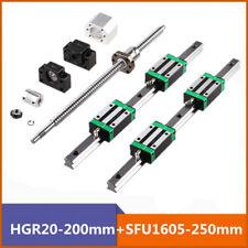 2X Hgr20-200mm Linear Guide Rail With 1X Rm1605-250mm Ballscrew + Bf12/Bk12 Kit