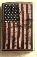 ZIPPO USA Flag Lighter Distressed Look United States with Orange Seal New