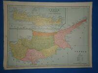 Vintage 1893 CRETE - CYPRUS MAP Old Antique Original Atlas Map ~
