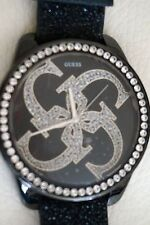 GUESS Ladies Watch Black Leather I11056L1 BNWT Oversized